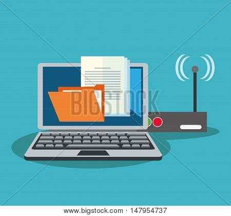 File document and laptop icon. Archive office and technology theme. Colorful design. Vector illustration