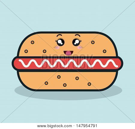 hot dog fast food facial expression icon design, vector illustration graphic