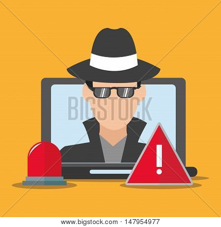 hacker alarm and laptop icon. Cyber security system and media theme. Colorful design. Vector illustration