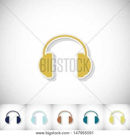 Headphones. Flat sticker with shadow on white background. Vector illustration