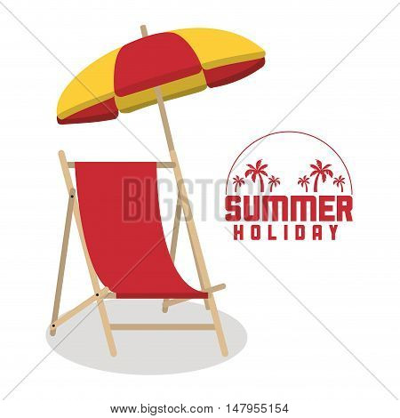 Chair and umbrella icon. Summer holiday and vacations theme. Colorful design. Vector illustration