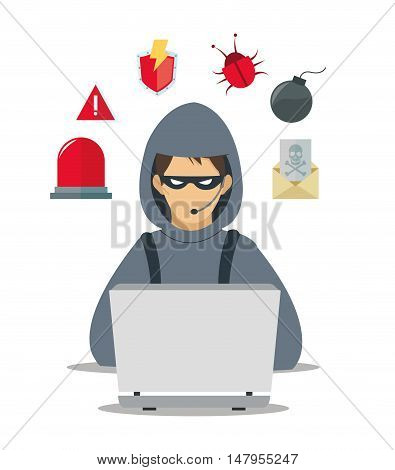 hacker and laptop icon set. Cyber security system and media theme. Colorful design. Vector illustration