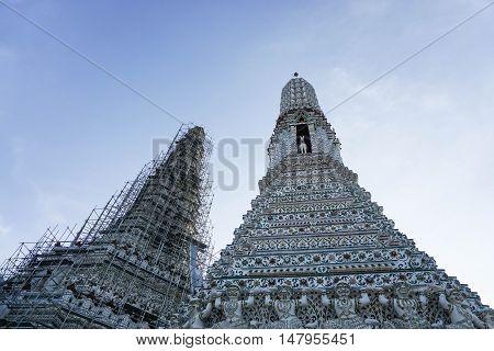pagoda in Wat Arun is under renovation