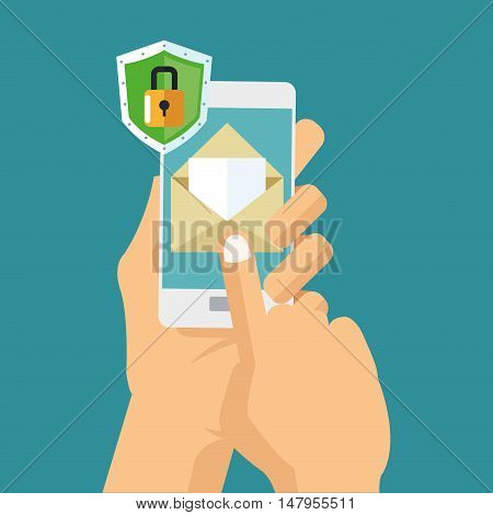 Smartphone padlock and envelope icon. Cyber security system and media theme. Colorful design. Vector illustration