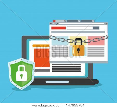 Laptop and padlock icon. Cyber security system and media theme. Colorful design. Vector illustration