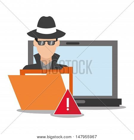 hacker file and laptop icon. Cyber security system and media theme. Colorful design. Vector illustration