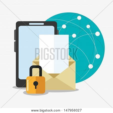 Smartphone envelope sphere and padlock icon. Cyber security system and media theme. Colorful design. Vector illustration