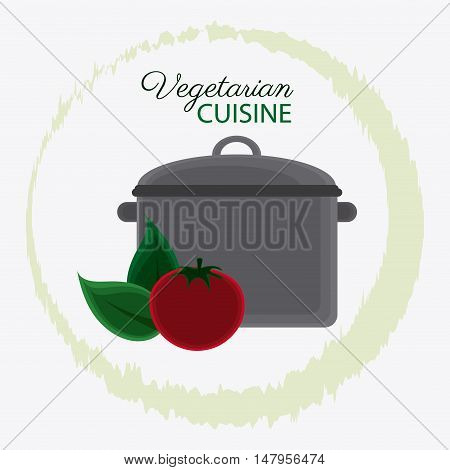 Cooking pot tomato and leaf icon. Vegetarian cuisine organic and healthy food theme. Colorful design. Vector illustration