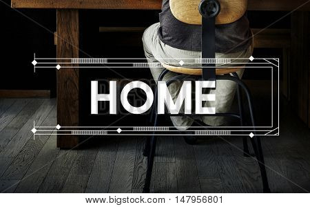 Home Relax Work Space Word Concept