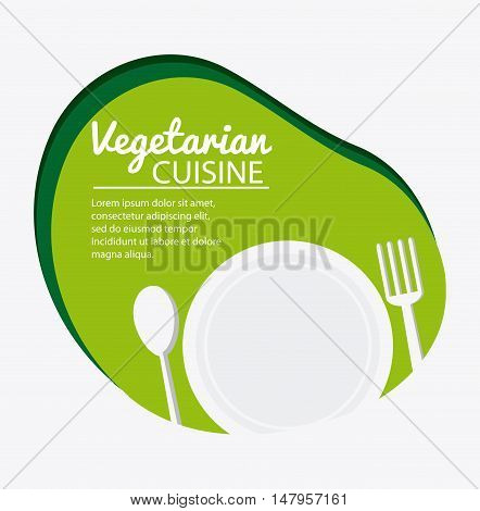 Plate and cutlery icon. Vegetarian cuisine organic and healthy food theme. Colorful design. Vector illustration