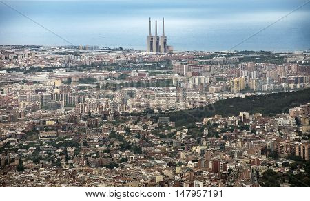 BARCELONA SPAIN - JULY 3 2016: View to Barcelona from Tibidabo mountain