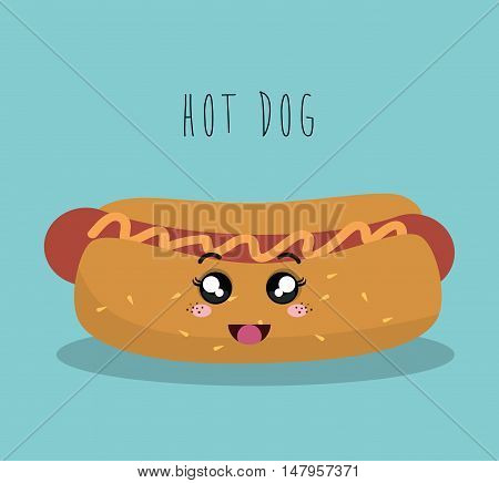 cartoon hot dog food fast facial expression design isolated vector illustration eps 10