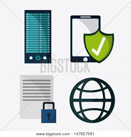 Smartphone shield and document icon. Data protection cyber security system and media theme. Colorful design. Vector illustration