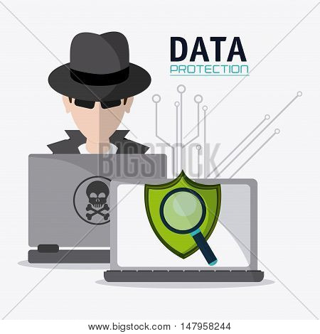 Hacker thief shield lupe and laptop icon. Data protection cyber security system and media theme. Colorful design. Vector illustration