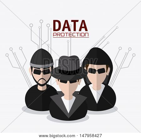 Hacker thief icon. Data protection cyber security system and media theme. Colorful design. Vector illustration