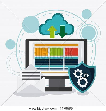 Computer shield cloud envelope and gears icon. Data protection cyber security system and media theme. Colorful design. Vector illustration