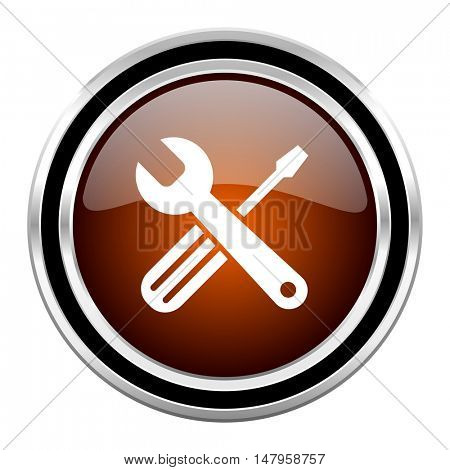 tools round circle glossy metallic chrome web icon isolated on white background