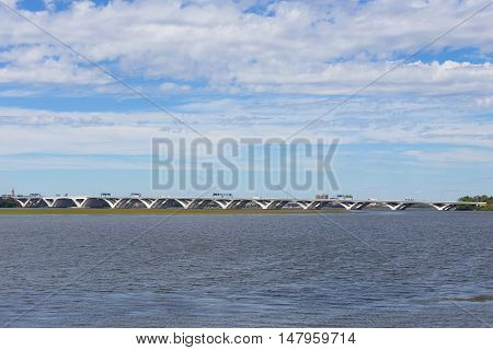 Woodrow Wilson Bridge from National Harbor Oxon Hill Maryland USA. A bascule bridge across Potomac River connects Virginia and Maryland states.