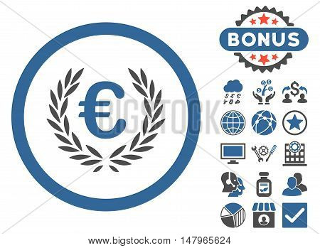 Euro Glory icon with bonus design elements. Vector illustration style is flat iconic bicolor symbols, cobalt and gray colors, white background.