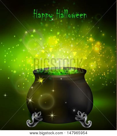 Halloween witches cauldron with green potion and spiders on dark background, illustration.