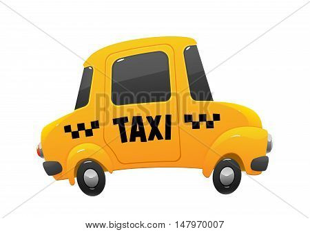 little cartoon taxi car on a white background isolated