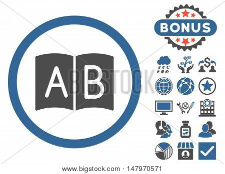 Handbook icon with bonus pictures. Vector illustration style is flat iconic bicolor symbols, cobalt and gray colors, white background.