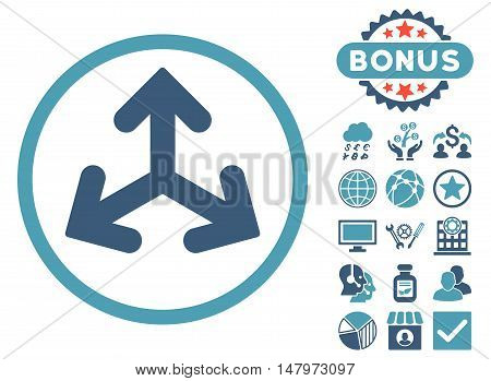 Direction Variants icon with bonus pictures. Vector illustration style is flat iconic bicolor symbols, cyan and blue colors, white background.