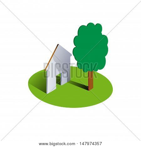 Vector sign Housing, tree and house on round