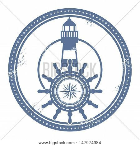 Grunge stamp with lighthouse and space for text, vector illustration