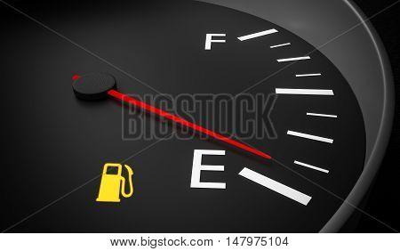 Empty Fuel Warning Light In Car Dashboard. 3D Rendered Illustrat