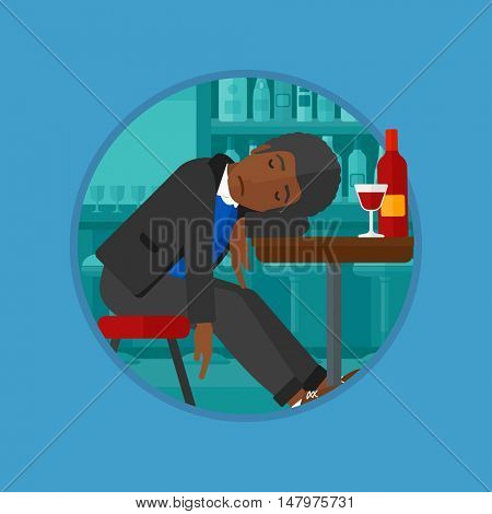 An african-american drunk man deeply sleeping near the bottle of wine and glass on table. Young drunk man sleeping in bar. Vector flat design illustration in the circle isolated on background.