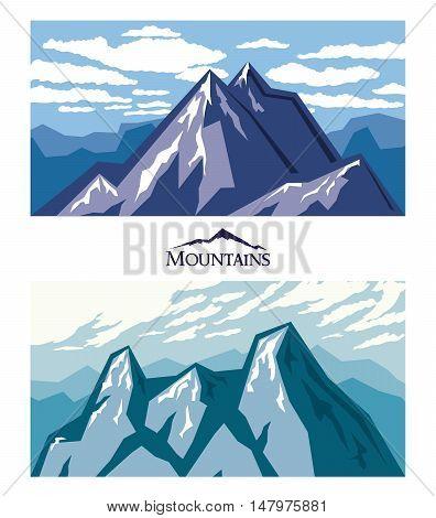 Forbidding mountains, mountain climbing, adventure, nature. Color vector illustration