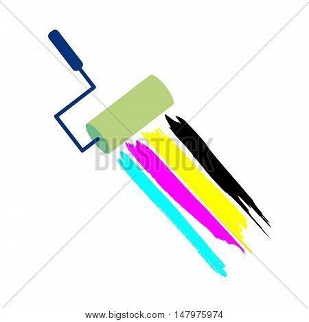 Vector sign CMYK brush with paint isolated in white