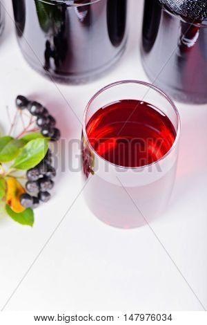 Syrup made from aronia berries glass and bottles