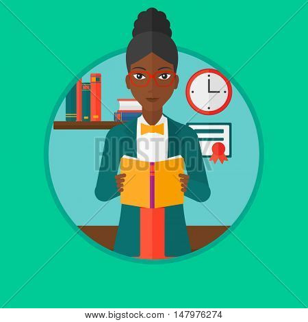 African-american student reading a book. Student reading book and preparing for exam. Student studying at home. Education concept. Vector flat design illustration in the circle isolated on background.