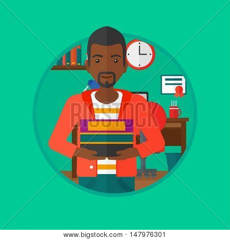 An african-american student holding pile of books. Man with pile of books in hands at home. Smiling student with stack of books. Vectr flat design illustration in the circle isolated on background.