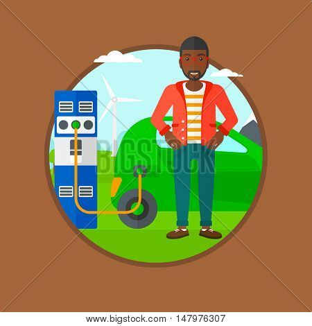 An african-american young man charging electric car at charging station. Man standing near power supply for electric car charging. Vector flat design illustration in the circle isolated on background.