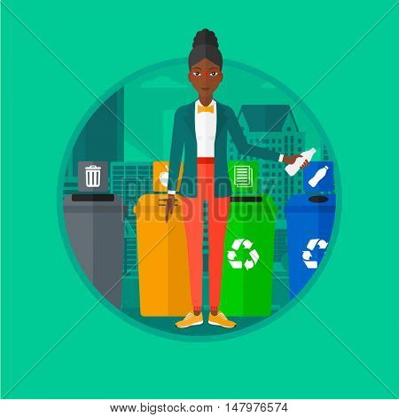 An african-american woman standing near four bins on a city background and throwing away plastic bottle in an appropriate bin. Vector flat design illustration in the circle isolated on background.