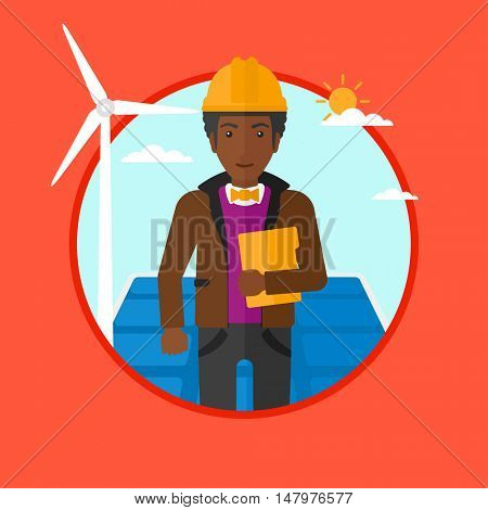 An african worker of solar power plant and wind farm standing on background of solar panel and wind turbine. Green energy concept. Vector flat design illustration in the circle isolated on background.
