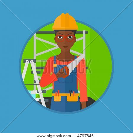 An african-american worker in overalls and hard hat holding a saw in hand. Young woman in helmet standing with saw in apartment. Vector flat design illustration in the circle isolated on background.