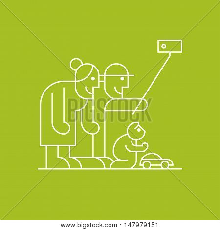 Old people and grandchild playing and making selfie with smartphone vector thin line pictogram icon symbol. Happy active and modern old grandparents design element