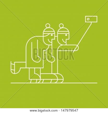 Old senior people skating and making selfie with smartphone vector thin line clipart. Active happy and modern grandparents elderly people pensioners symbol icon emblem