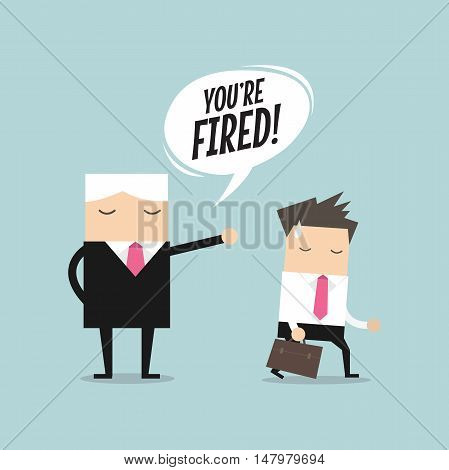 Angry boss firing employee. Unemployment, crisis, jobless and employee job reduction concept vector