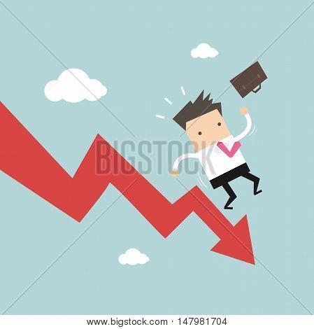 Businessman On Falling Down Chart. vector illustration