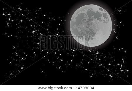 illustration with full moon on sky with stars