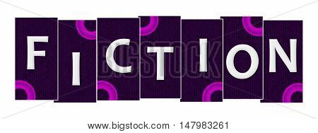 Fiction text written over pink purple background.