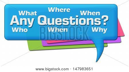 Any questions text with related wordcloud on blue colorful comment symbol.