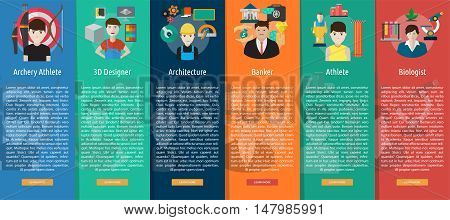 Human Profession Vertical Banner Concept | Set of great vertical banner flat design illustration concepts for human, profession, athlete, work, event and much more.