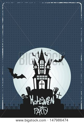 Vector old castle in cemetery in the moonlight night. Template Poster for Halloween with a grunge frame. Bats mound skulls and zombies. Flat cartoon illustration. Objects isolated on background.