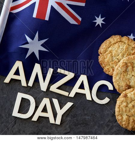 Anzac Day signage with the Australian flag and Anzac biscuits.